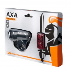 Far + stop AXA Greenline 30 lux USB 2 leduri - Negru