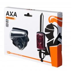 Far + stop AXA Greenline 8 lux USB 1 led - Negru