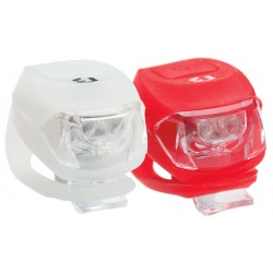 Far BIKEFUN PIXIE set F+S 2+2 LED, alb+roşu - JY-267-2B-SET