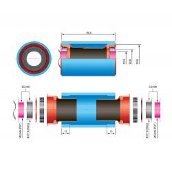 Adaptor monobloc FSA EVO86 BB ROAD 30/20 carbon CK EE096